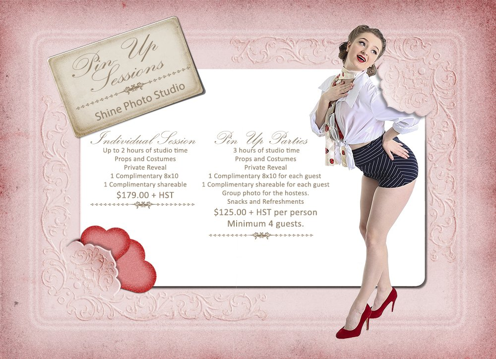 Shine Photo Pin Up Session Price Guide